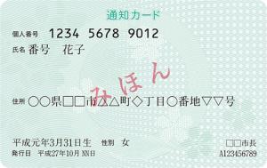 マイナンバー通知カード(見本) 税や社会保障の手続きで自分のマイナンバーを証明する書類です。大切に保管してください。